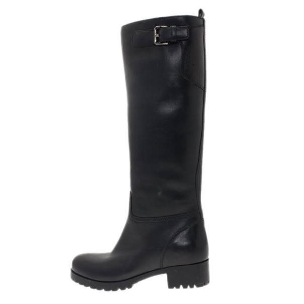 Prada Sport Black Leather Side Zip Boots Size 36