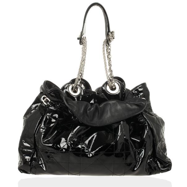 Christian Dior Le Trente Black Medium Patent Shopping hobo
