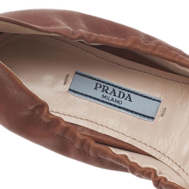 Prada Brown Leather Tassel Ballet Flats Size 36