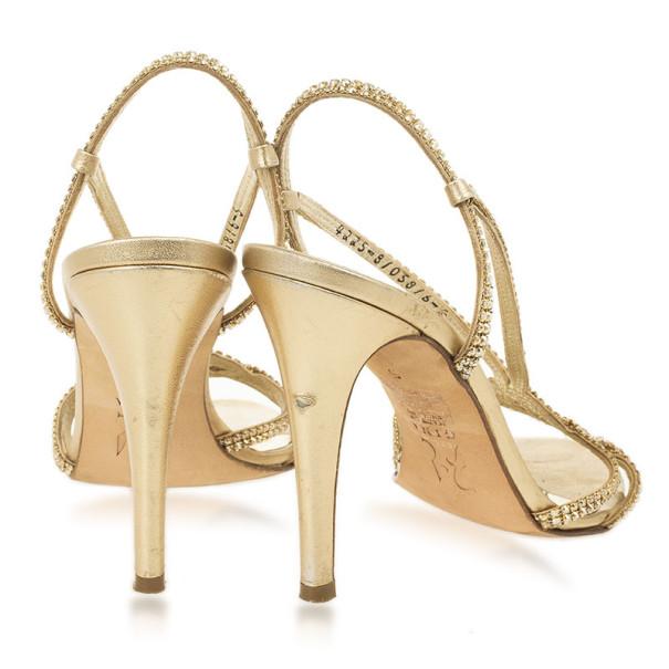 Gina Gold Crystal Slingback Sandals Size 38