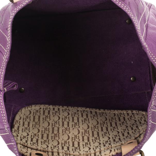 Carolina Herrera Purple Monogram Embossed Tote