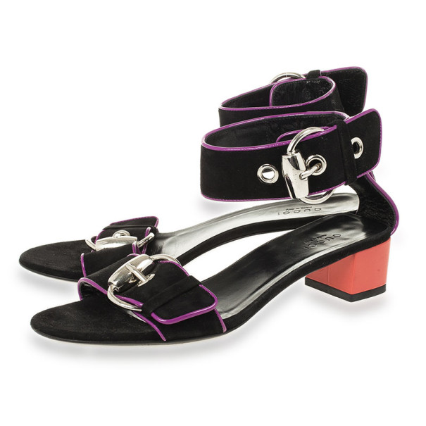 Gucci Black Buckle Ankle Strap Block Heel Sandals Size 36.5