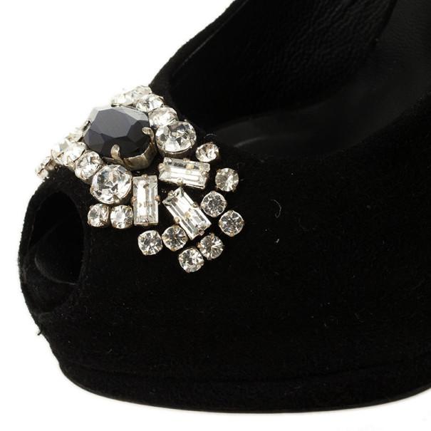 Giuseppe Zanotti Black Suede Embellished Toe Platform Stiletto Pumps Size 36.5