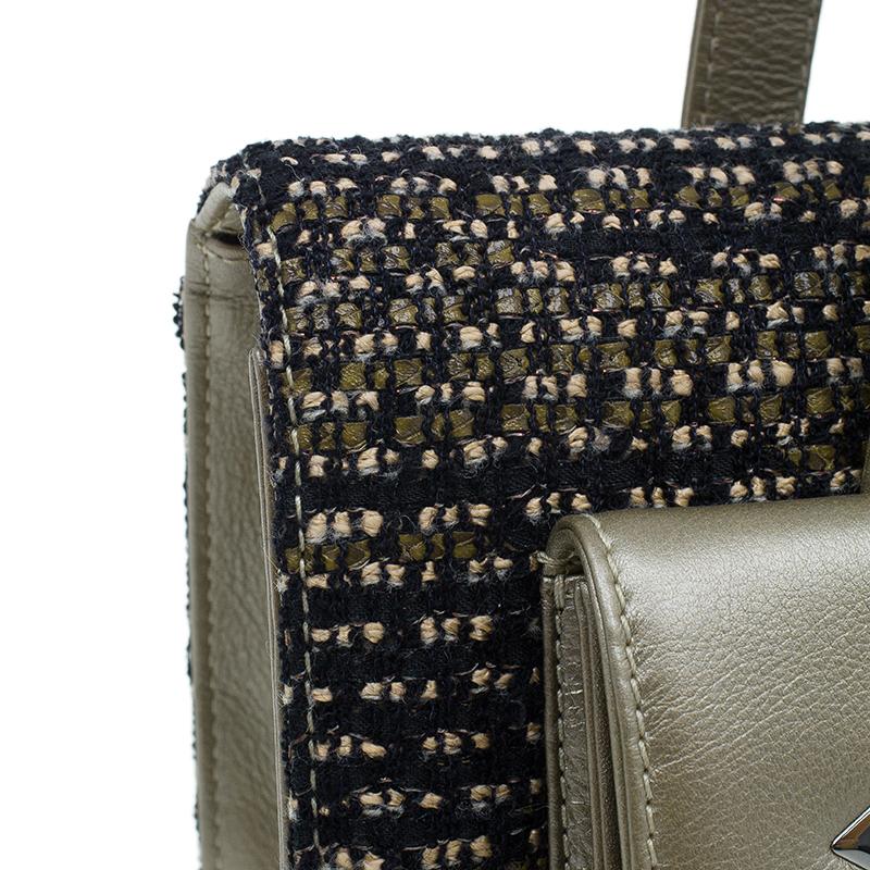 Chanel Gold Tweed Double Pocket Satchel Bag
