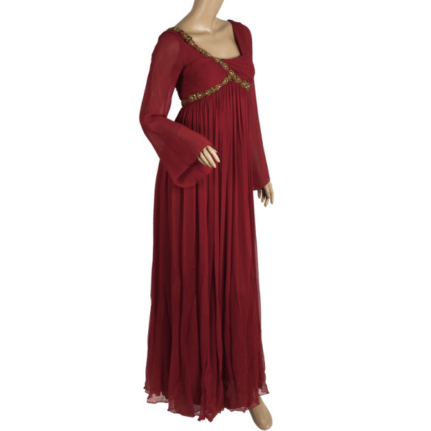 Notte by Marchesa Red Embellished Evening Gown