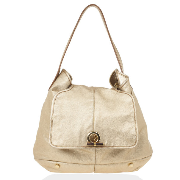 Yves Saint Laurent Gold Leather Capri Large Flap Hobo