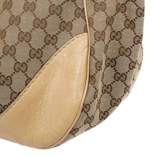 Gucci Monogram GG Light Beige Jockey Hobo Large Bag