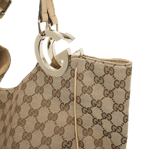 Gucci Monogram GG Light Beige Jockey Hobo Large Bag