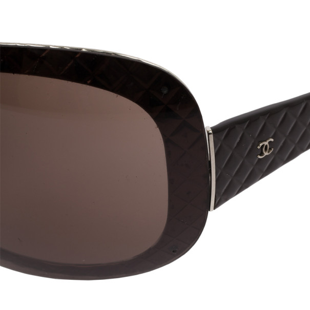 Chanel Brown Quilted 4165 Oval Sunglasses
