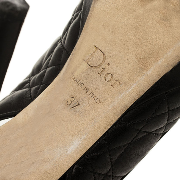 Christian Dior Black Quilted Cannage Slingback Sandals Size 37.5