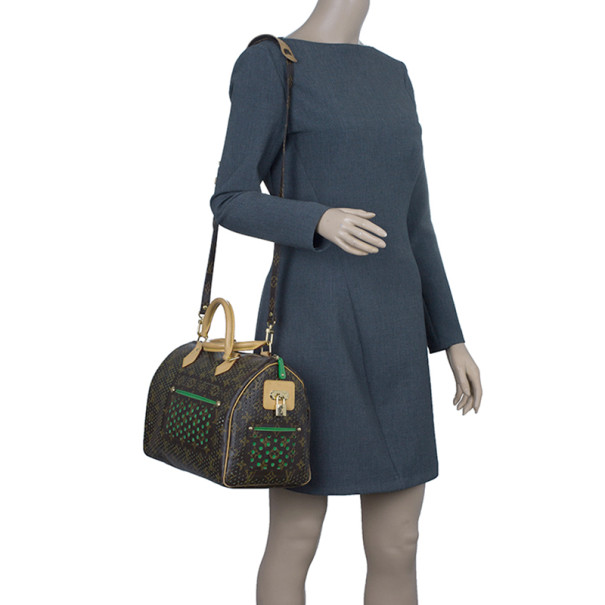 Louis Vuitton Green Perforated Limited Edition Speedy 30