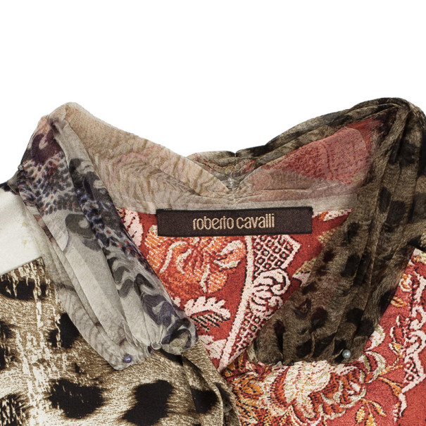 Roberto Cavalli Silk Printed Shirt L
