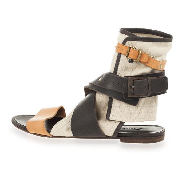 Chloé Multi-strap Leather & Canvas Gladiator Sandals Size 37.5