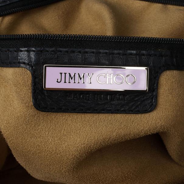 Jimmy Choo Sky Snakeskin Crocheted Hobo