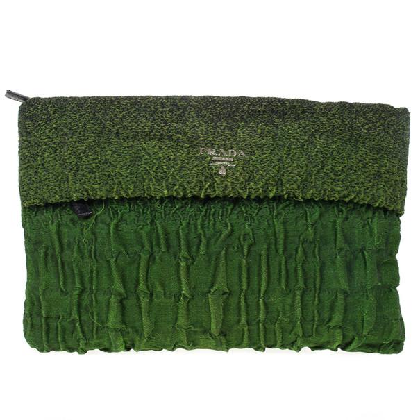 Prada Green Crepe Pleated Clutch