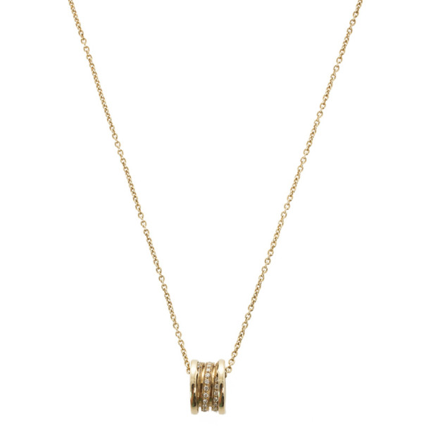 Bvlgari B.Zero1 18 K Yellow Gold Diamond Pendant Necklace