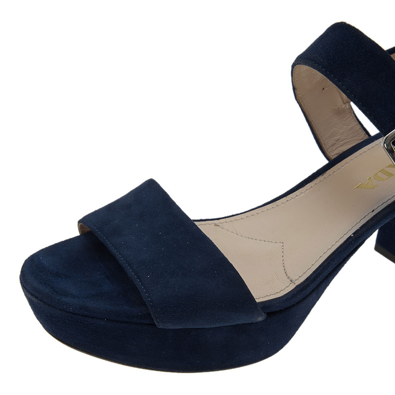 Prada Blue Suede Two Strap Block Heel Sandals Size 36