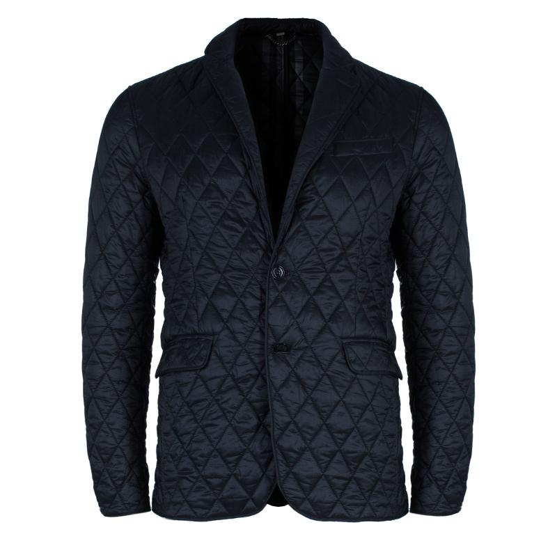 Burberry Men's Black Diamond Quilted Jacket L