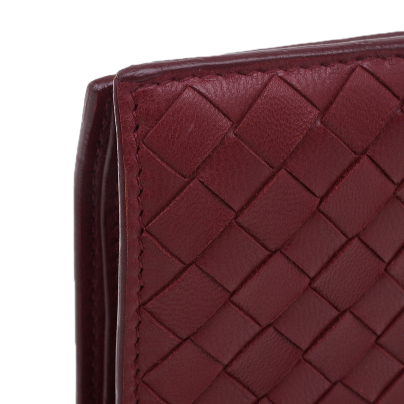 Bottega Veneta Red Nappa Leather Tourmaline Intrecciato Continental Wallet