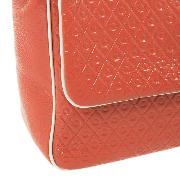 Tod's Signature Coral Patent Tracollina Flap Bag