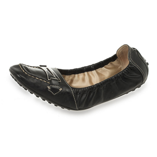 Tod's Black Leather Penny Loafer Ballet Flats Size 37.5