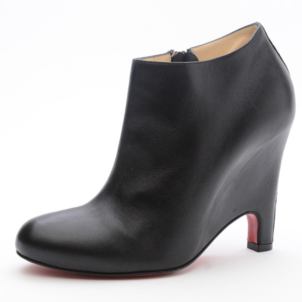 Christian Louboutin Black Leather Morphing Wedge Ankle Boots Size 37.5