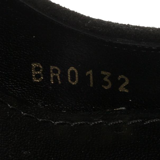 Louis Vuitton Black Suede Kimono Open Toe Platform Pumps Size 38.5