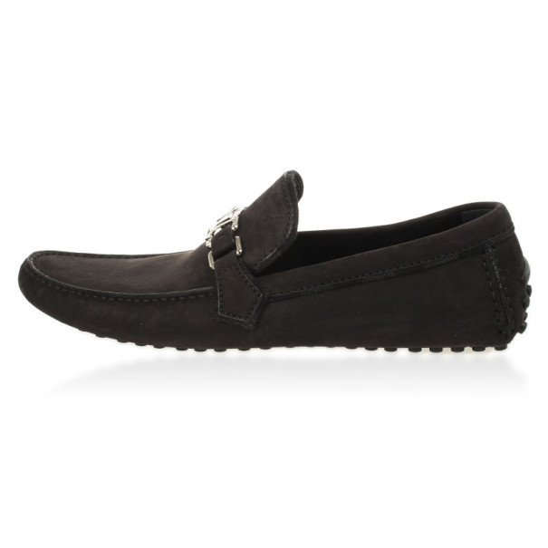 Louis Vuitton Black Suede Hockenheim Loafers Size 43.5