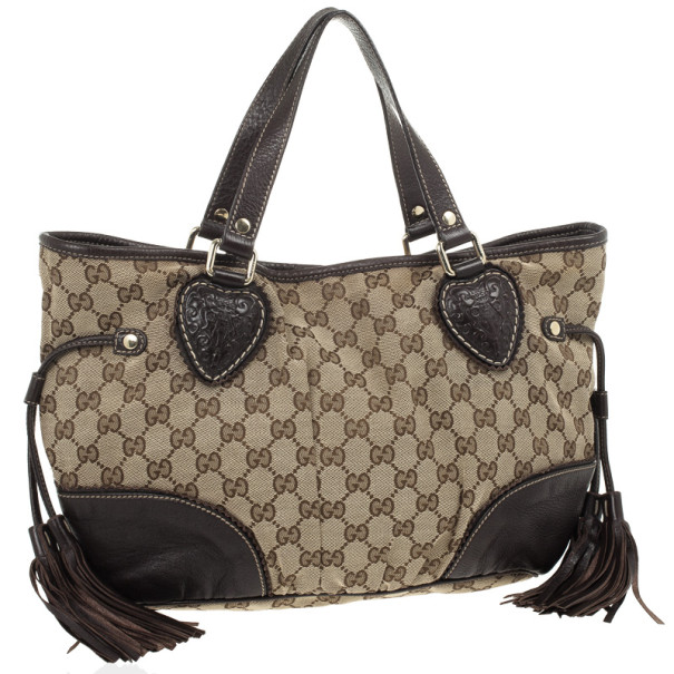 Gucci Brown Ebony GG Tribeca Medium Tote