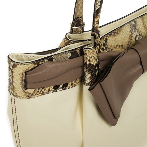 Valentino White Patent Leather and Python Large Aphrodite Bow Bag