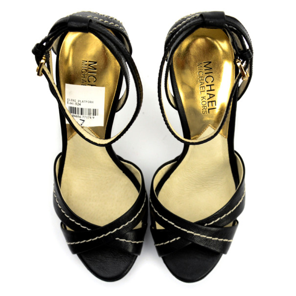 MICHAEL Michael Kors Black Leather Eleni Platform Ankle Strap Sandals Size 37.5