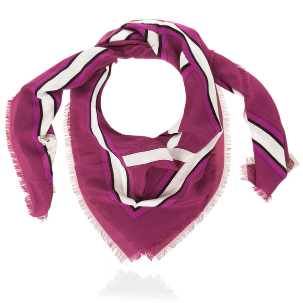 Burberry Magenta Heri Buckle Print Square Scarf