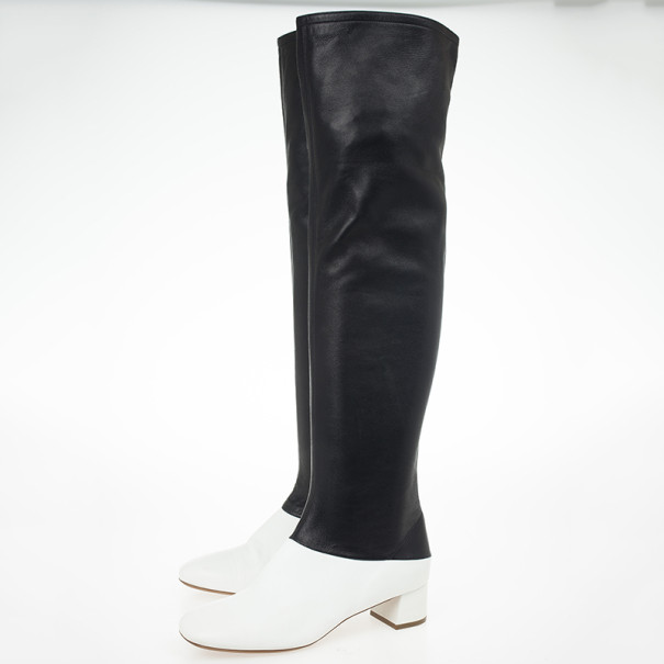 Celine Two Tone Leather Over The Knee Boots Size 38