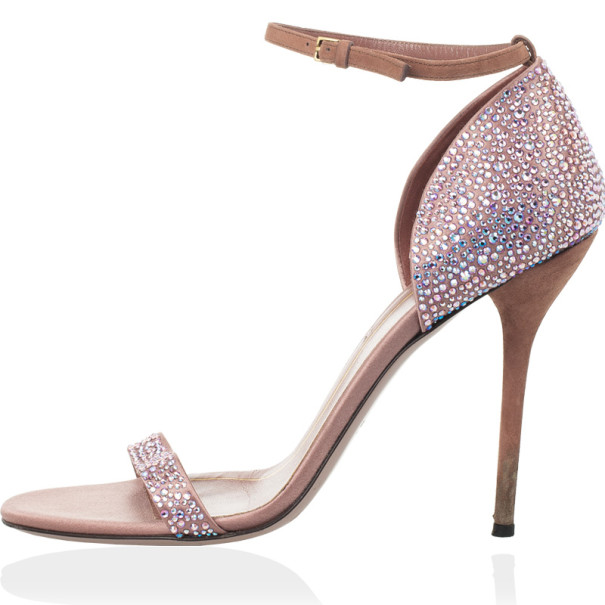 Gucci Pink Suede Noah Crystal Studded Ankle Strap Sandals Size 40