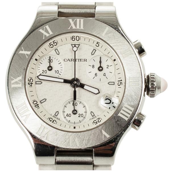 Cartier SS Rubber Chronograph Unisex Wristwatch