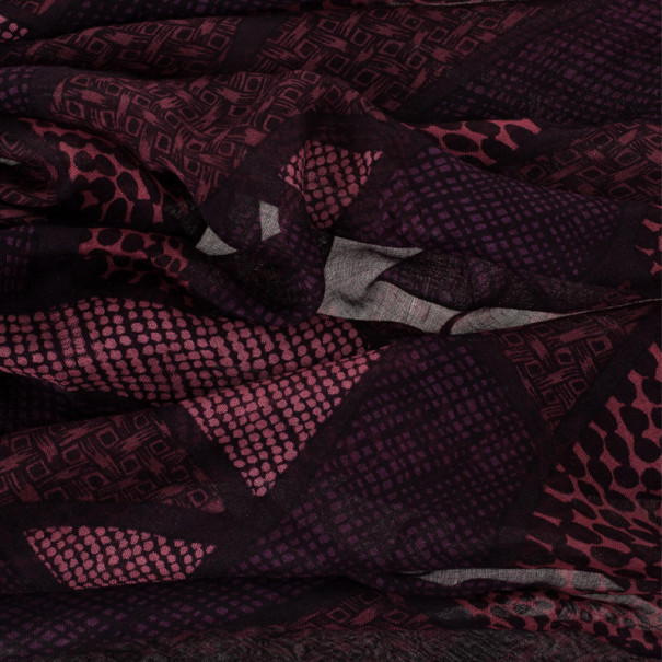 Burberry Maroon Modal & Cashmere Square Scarf