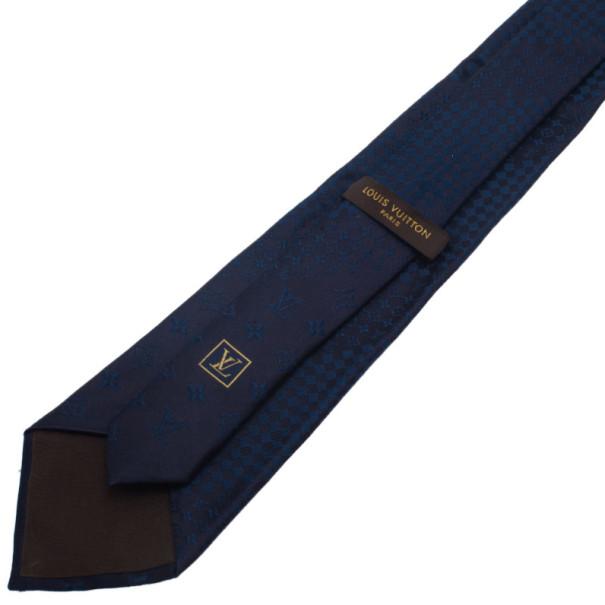 Louis Vuitton Navy Blue Monogram Tie