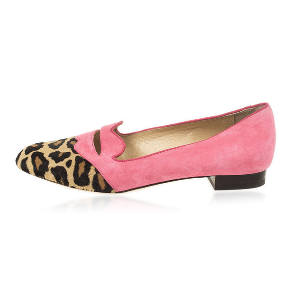 Charlotte Olympia Bisoux Suede & Pony Hair Loafers Size 38.5