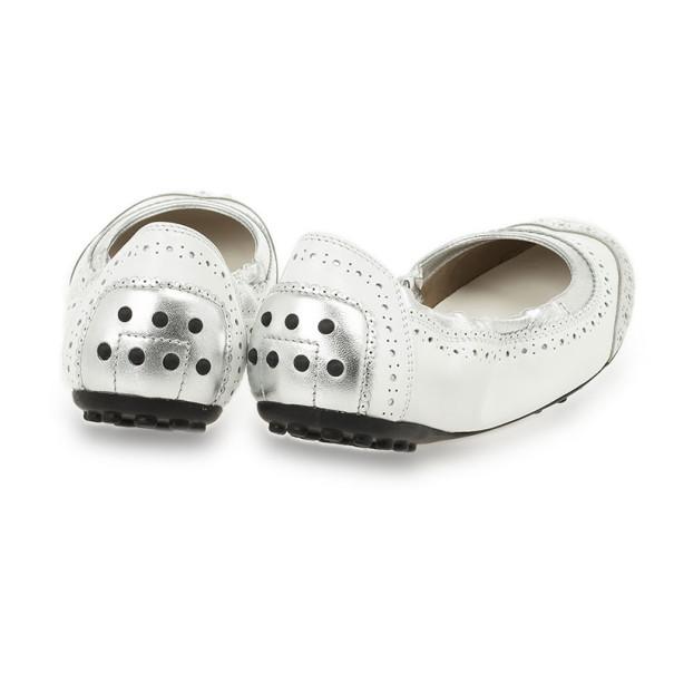 Tod's Silver Metallic Brogue Ballet Flats Size 36.5