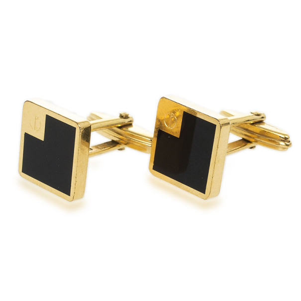 Dunhill Black Lacquerd Square Gold Plated Cufflinks