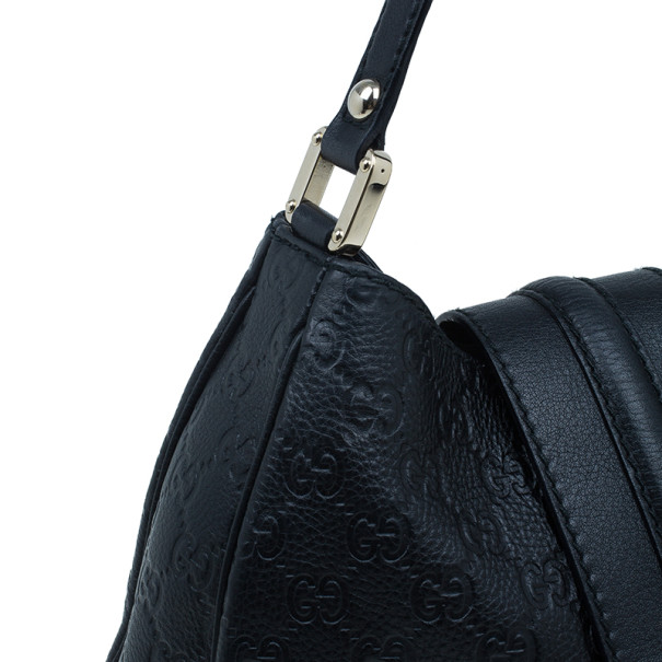 Gucci Black Guccissima Leather Medium Web Hobo