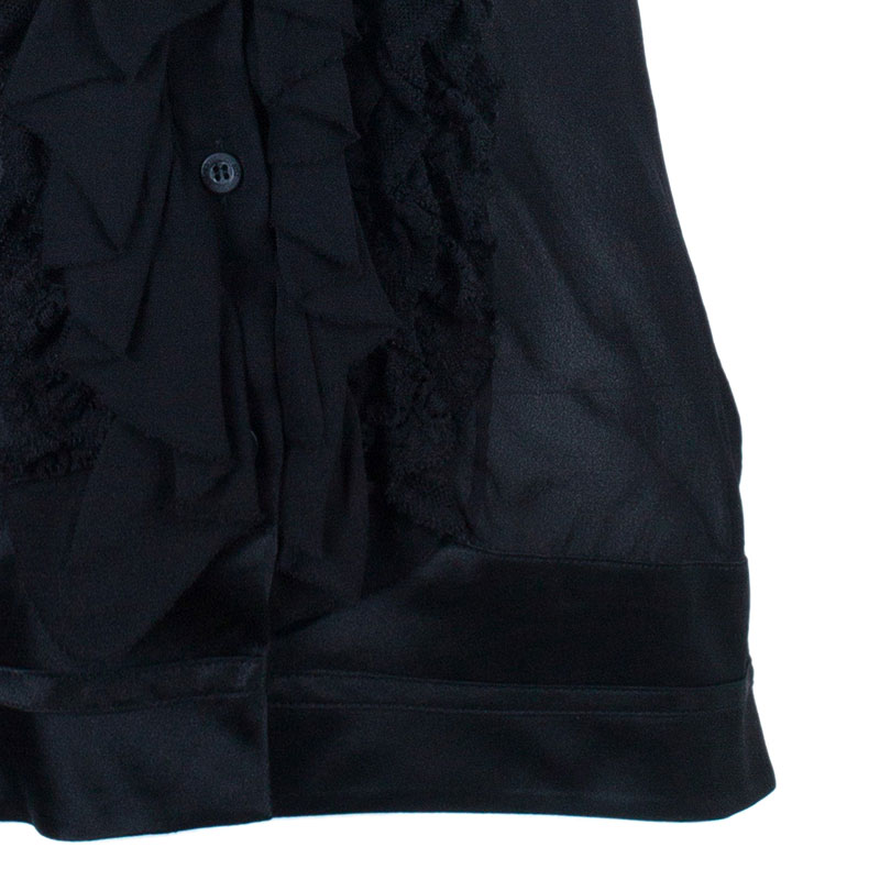 Just Cavalli Black Ruffle Detail Top M