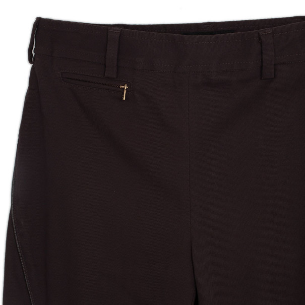 D and G Brown Skinny Trousers with Leather Piping L