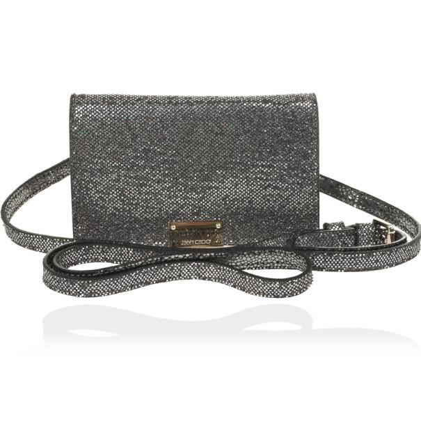 Jimmy Choo Glitter Fabric Ted iPhone Mini Shoulder Bag