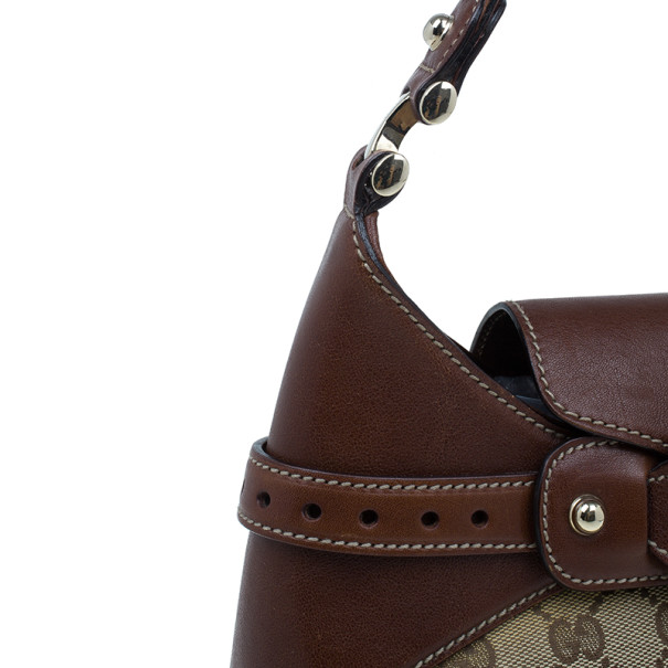 Gucci Brown Monogram Canvas GG Hobo Bag