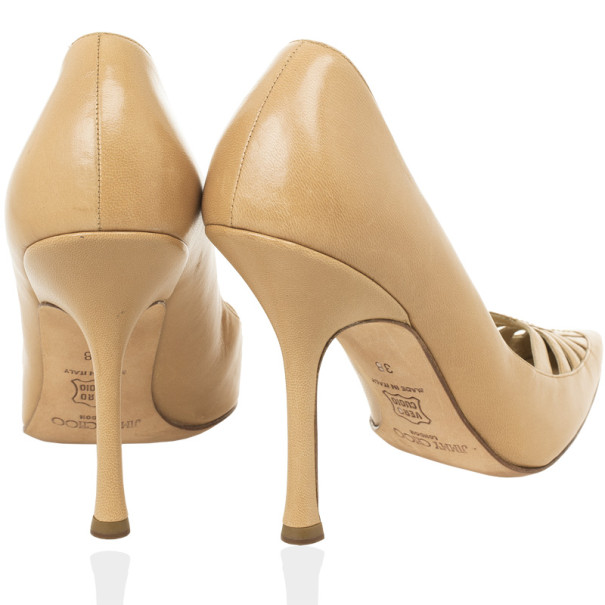 Jimmy Choo Beige Cutout Pointed Toe Pumps Size 38