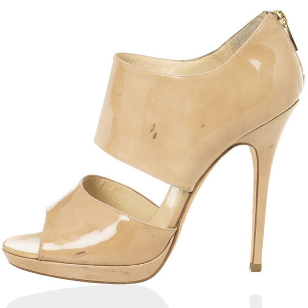 Jimmy Choo Nude Patent Leather 'Private' Sandals Size 40