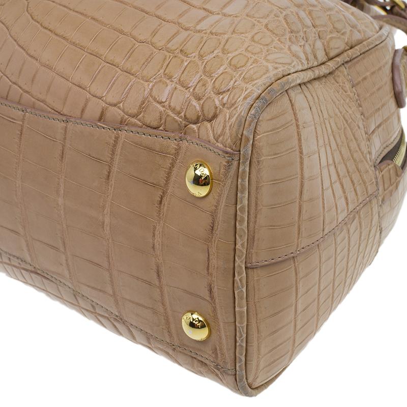 Prada Brown Crocodile Leather Bowler Bag