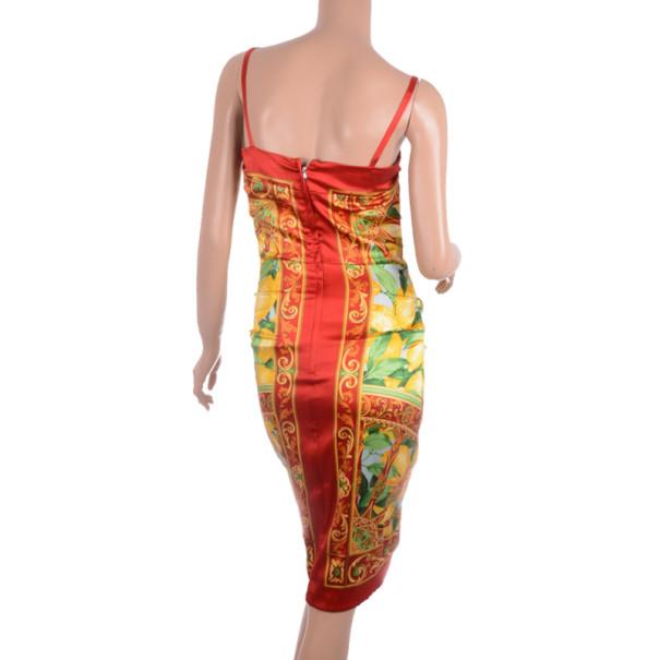 Dolce and Gabbana Leaf Print Cocktail Dress M