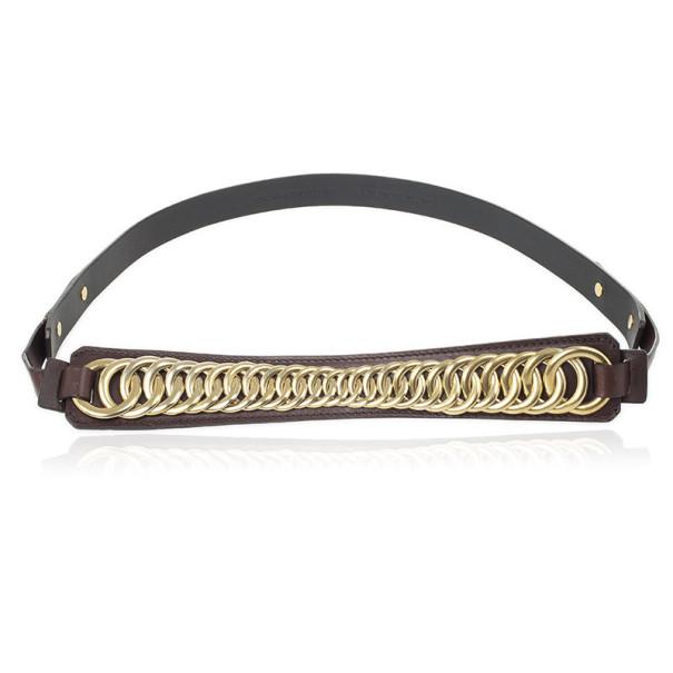 Balenciaga Brown Leather Chain Belt 85 CM
